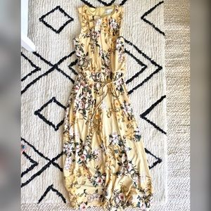 London Times Yellow floral jumpsuit